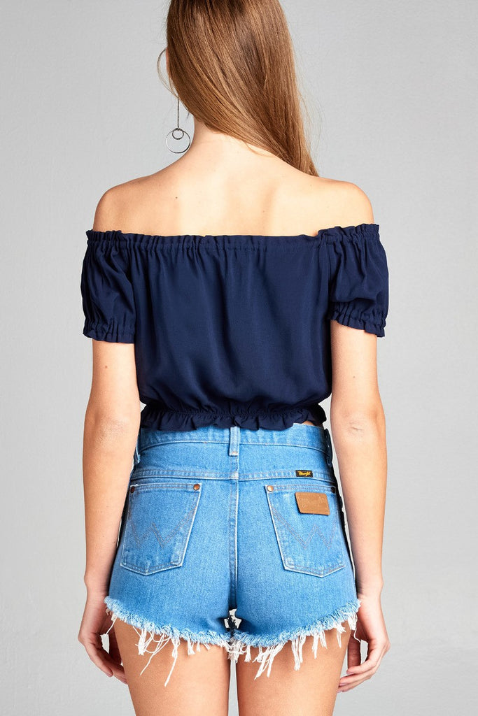 DOROTHY Short sleeve off the shoulder bubble hem w/ribbon tie waist elastic crop challis woven top