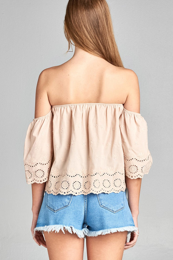 DOLORES Short sleeve off the shoulder crochet eyelet cotton top