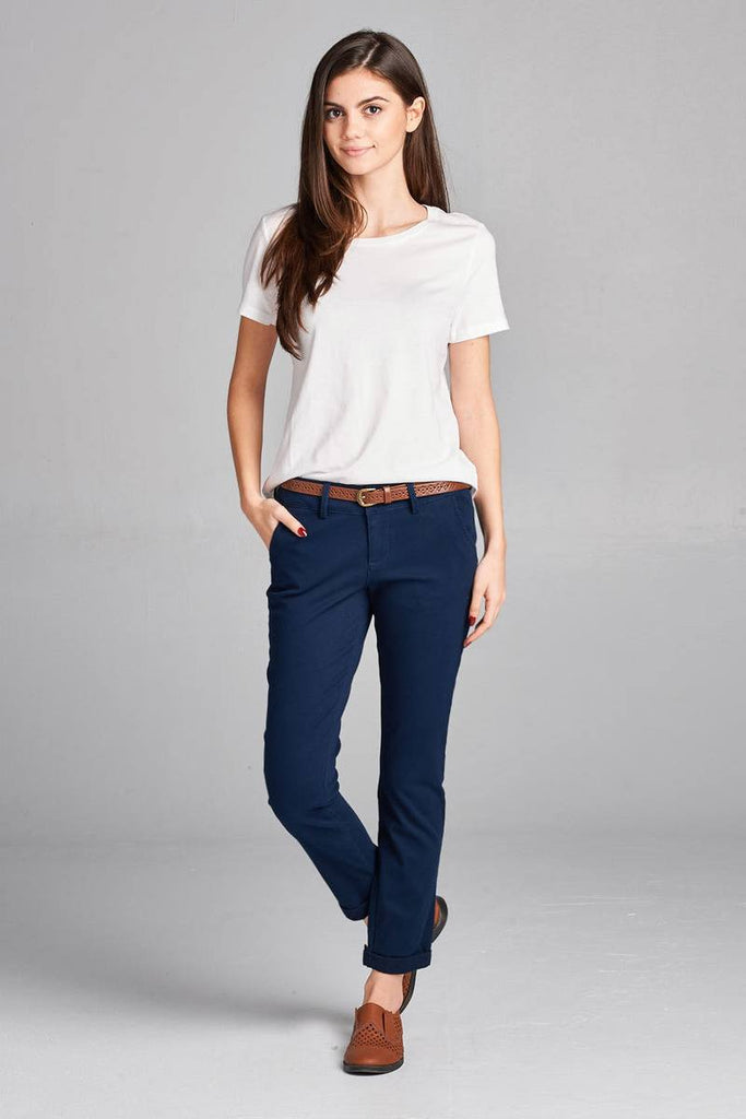 CELINA cotton spandex twill long pants