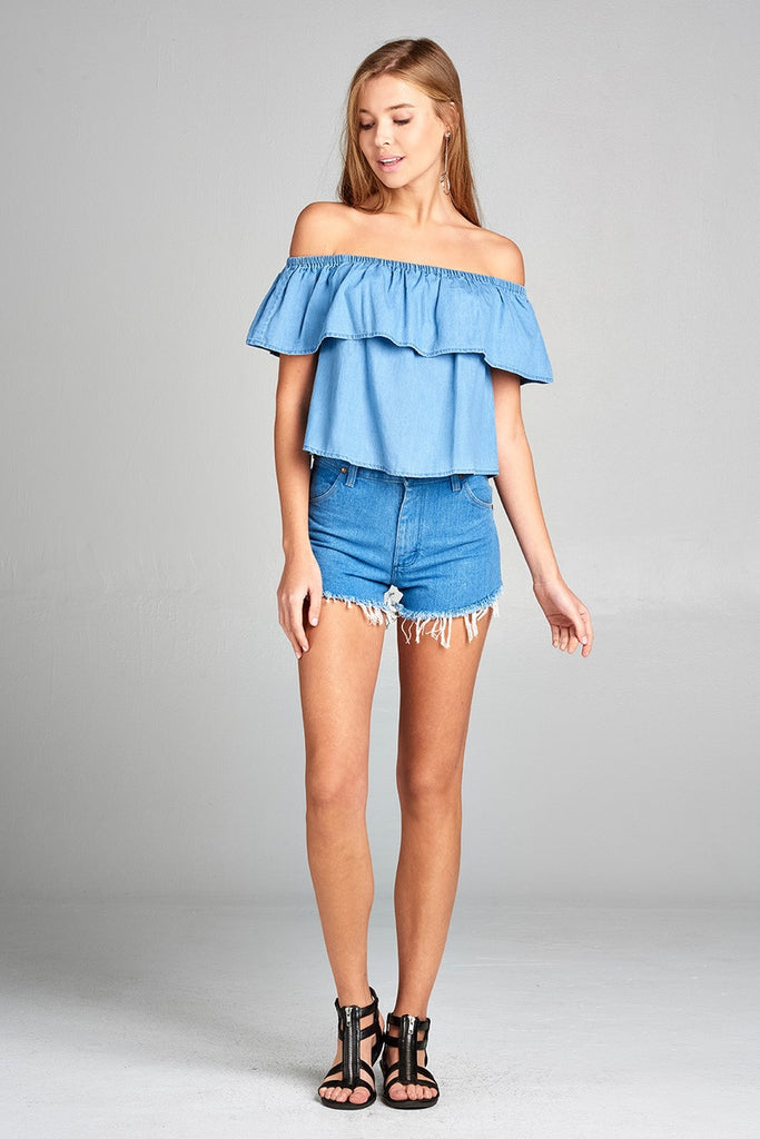 XIME Off the shoulder chambray ruffle top
