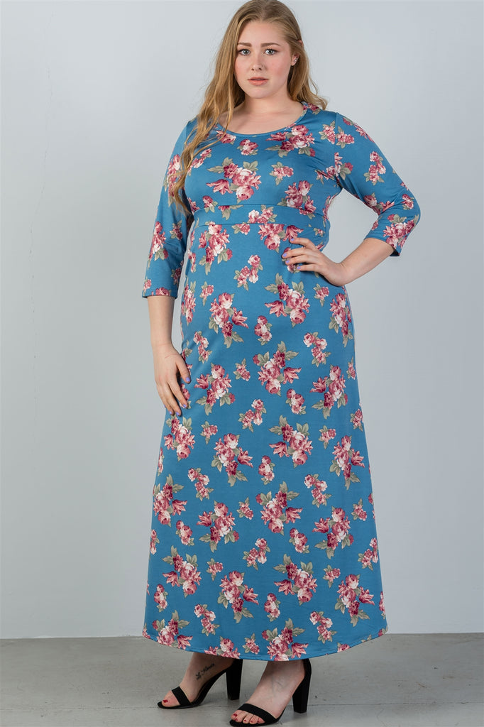 GIANNA Sky blue & floral print maxi dress