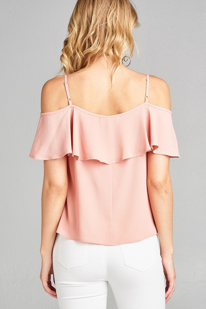 CELINDA Open shoulder flounce w/embo crepe woven top
