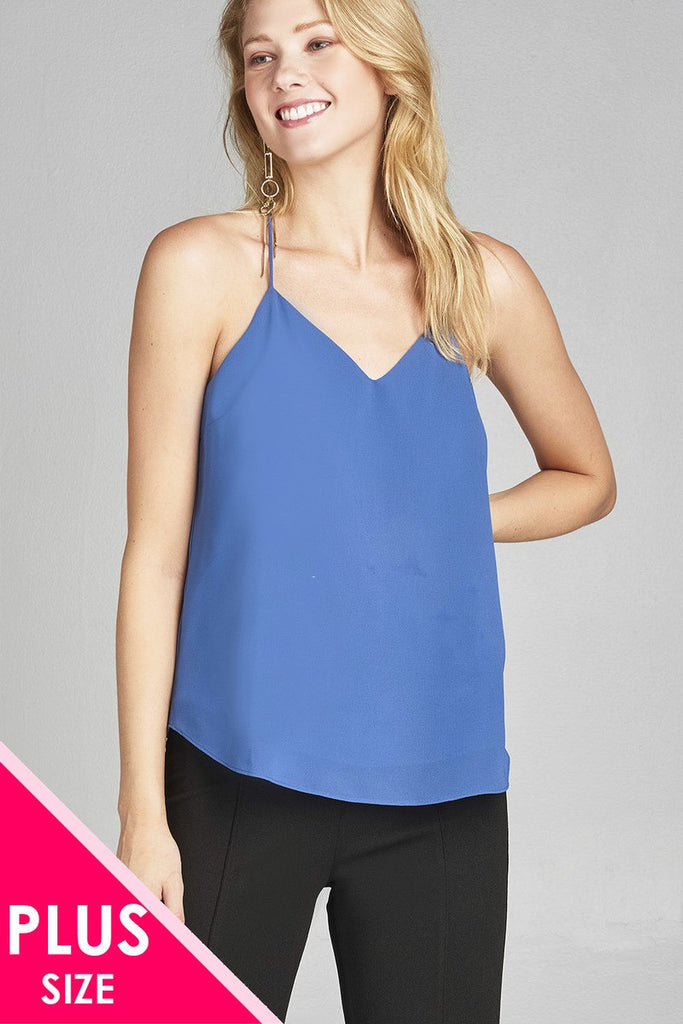 HILDA V-neck w/open back double strap detail woven cami top