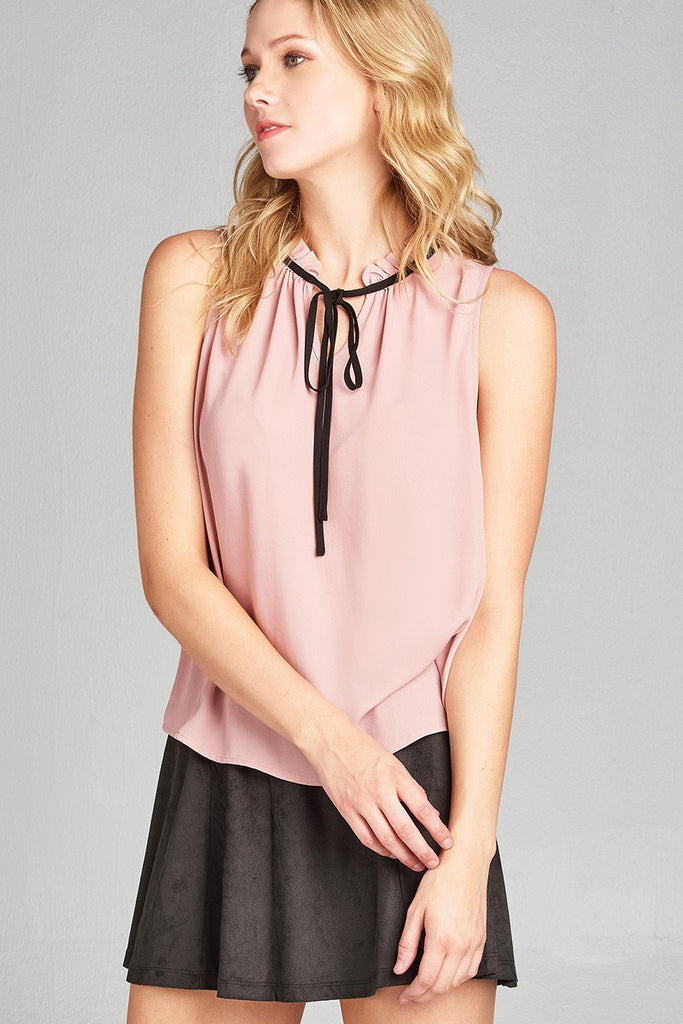 ERICCA Sleeveless contrast self-tie wool dobby woven top