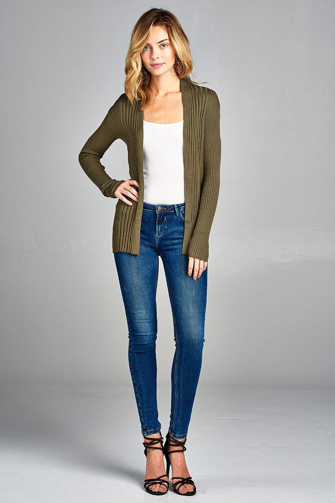 SLOANE Long sleeve open front ribbed knit cardigan