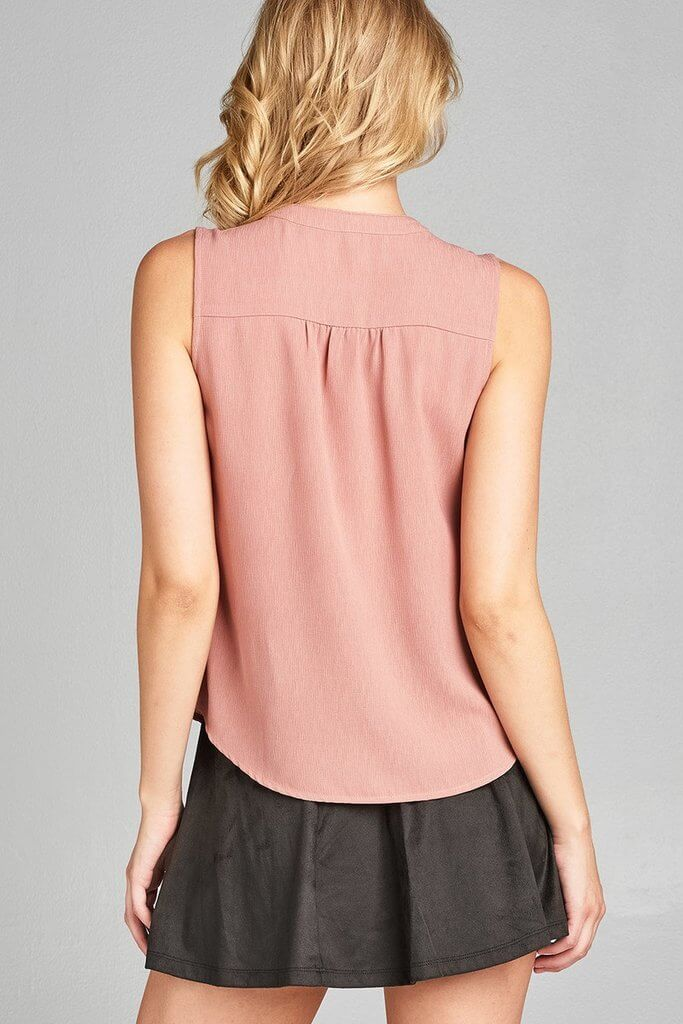 FLORENCE Sleeveless v-neck self tie w/eyelet detail front button woven top