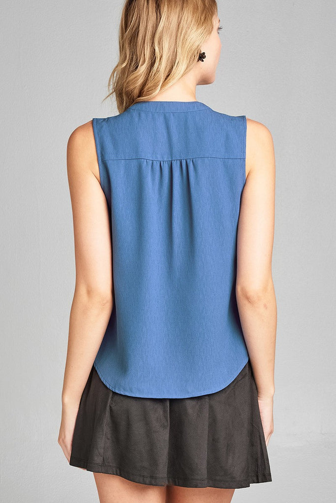FLORA Sleeveless v-neck self tie w/eyelet detail front button woven top