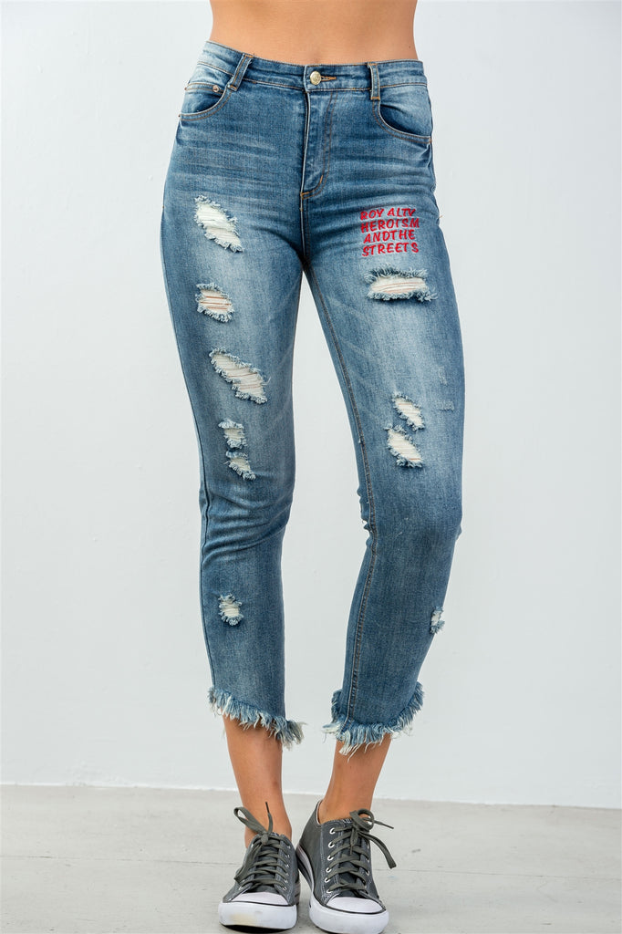 CHATTY denim distressed skinny jeans