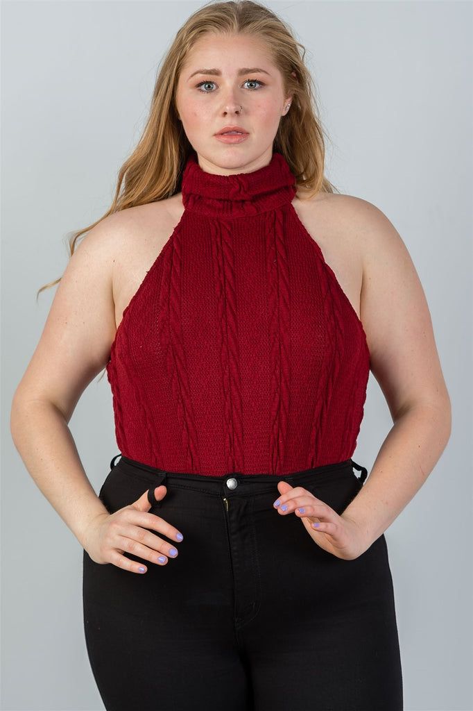 ISLA knit turtleneck sleeveless bodysuit