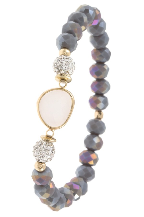 Ladies fashion faceted glass bead gemstone bracelet