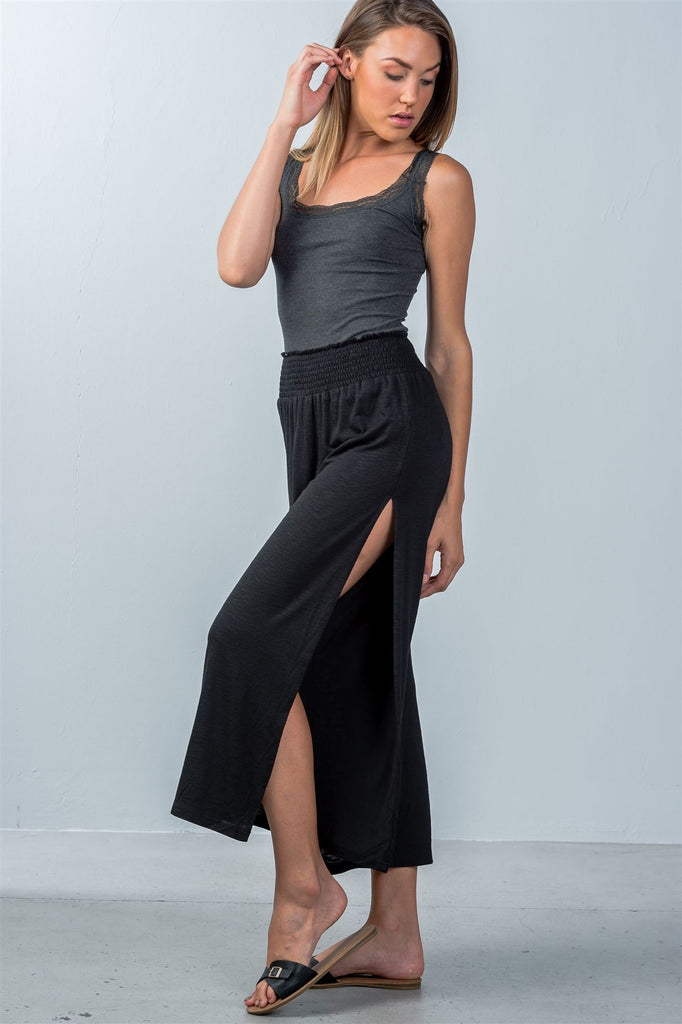 CELESTE side slit cropped pants