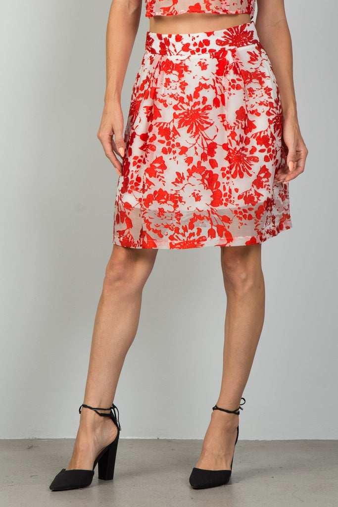 LYN floral embroidered skirt