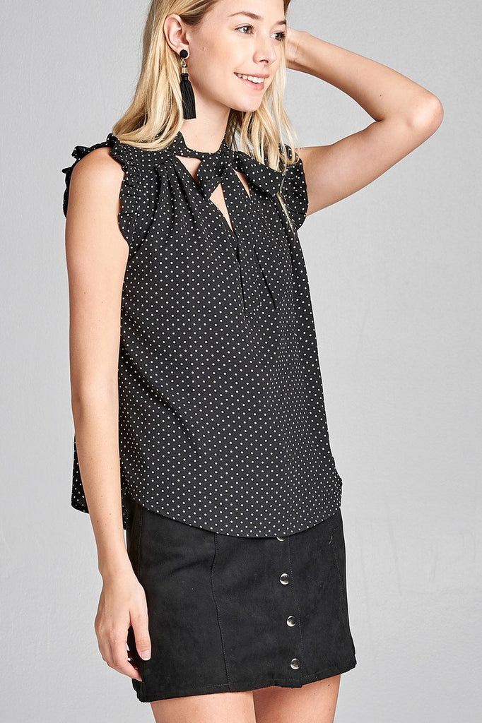DRUSILLA Short ruffle sleeve self tie dot print crepe woven top