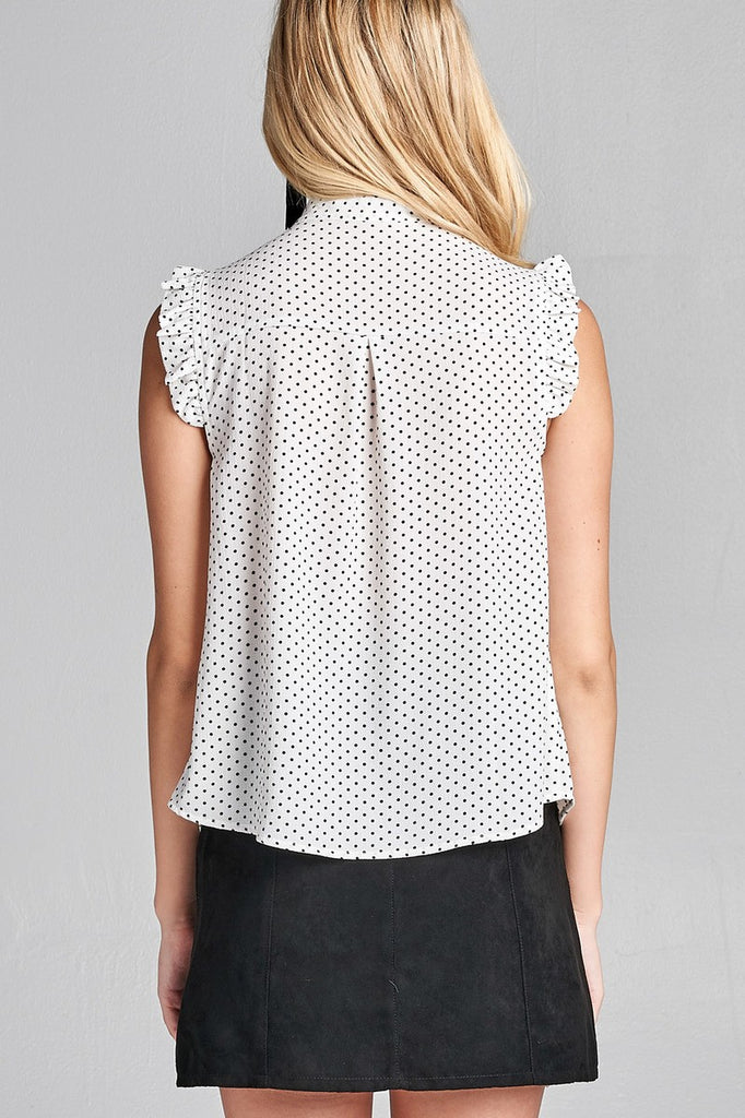 DANNA Short ruffle sleeve self tie dot print crepe woven top