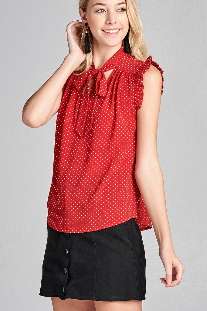 DULCIE Short ruffle sleeve self tie dot print crepe woven top
