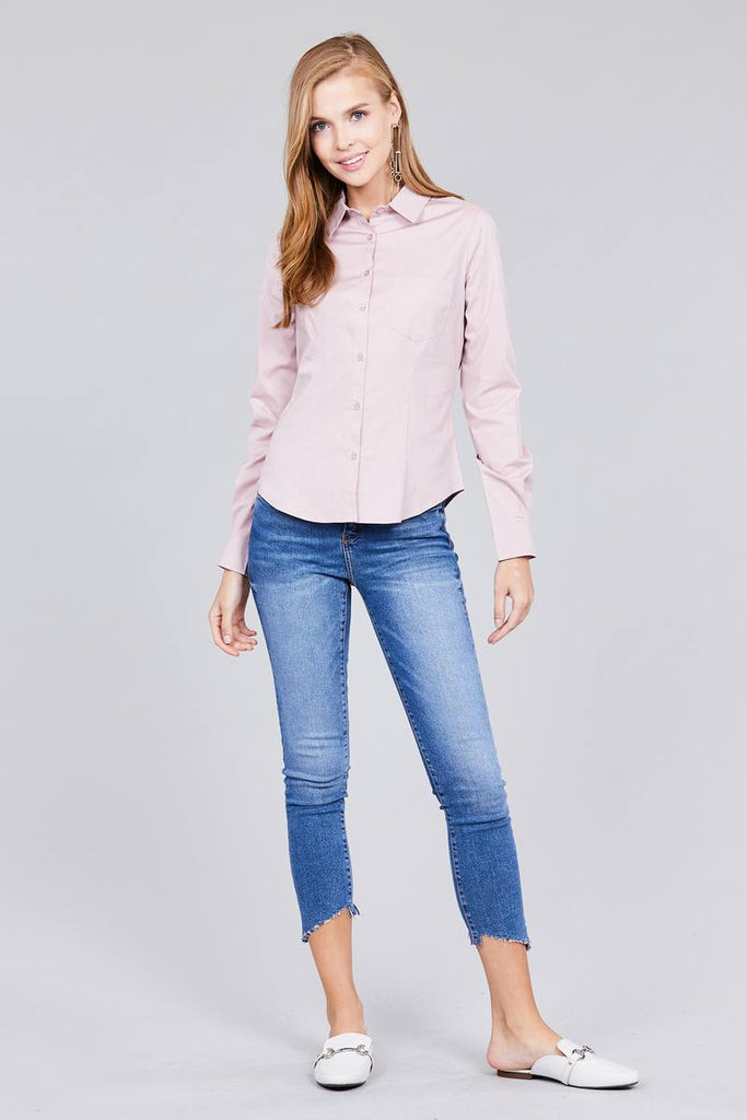BETTY Long sleeve button down stretch shirt