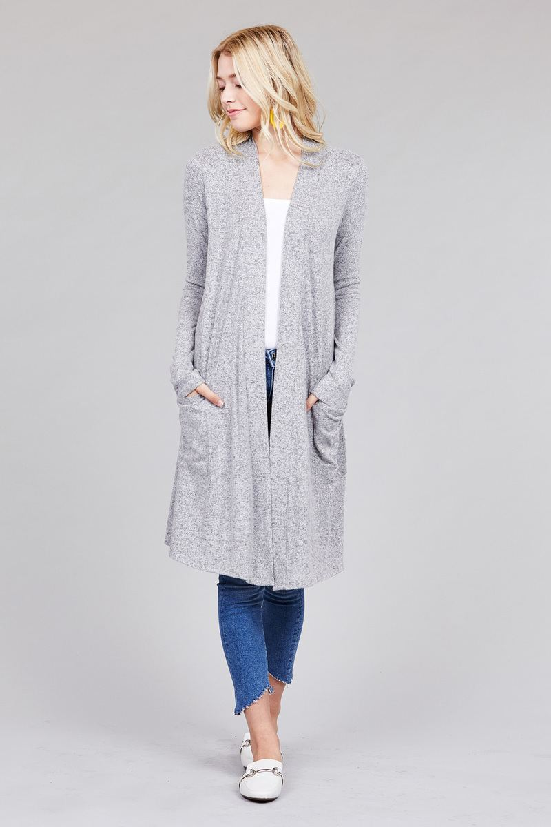 KAYLA Long sleeve open front w/pocket brushed hacci cardigan