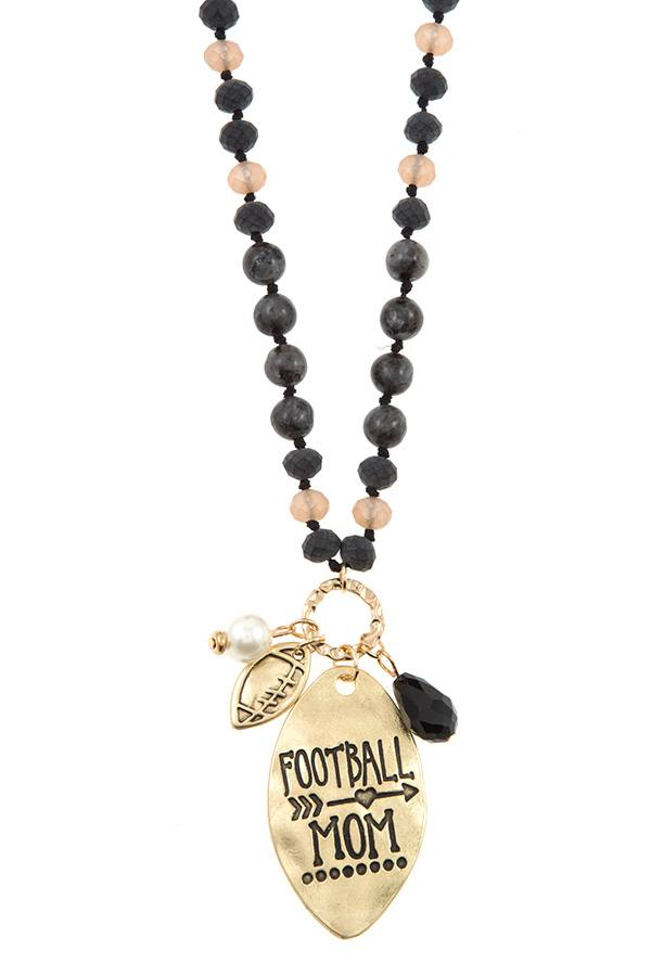 Football mom beaded necklace set