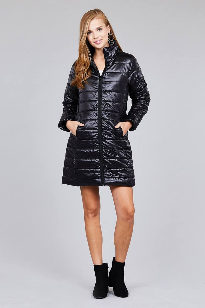 DONNA long sleeve quilted long padding jacket
