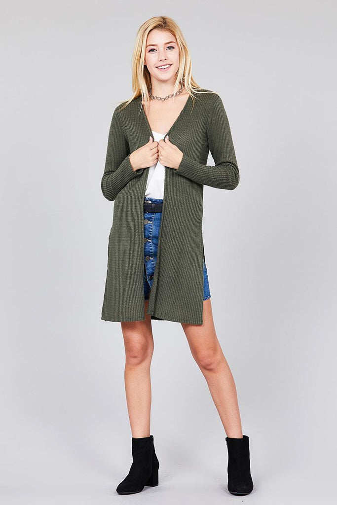 KARA Long sleeve  tunic length brushed waffle cardigan