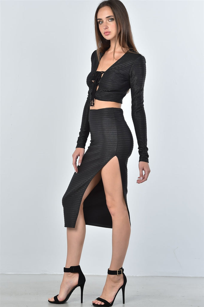 GINGER black textured lace up top and high split midi skirt set