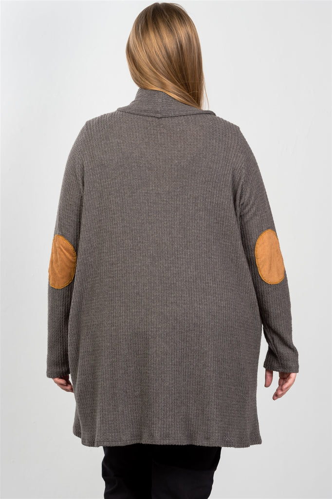 IONA Charcoal elbow patch open cardigan