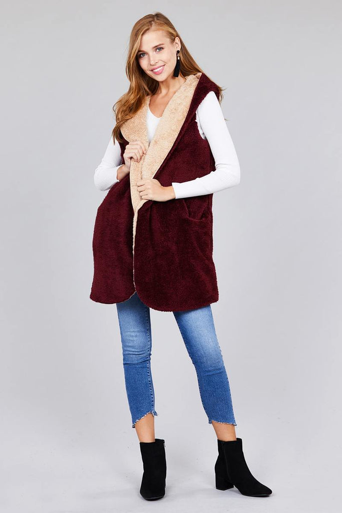 DOROTHY open front w/hoodie faux fur fluffy vest