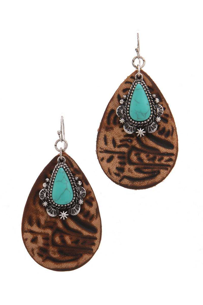 Leather tear drop shape earring