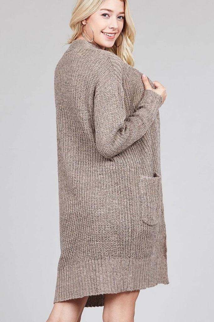ALICIA Dolman sleeve open front w/patch pocket marled sweater cardigan