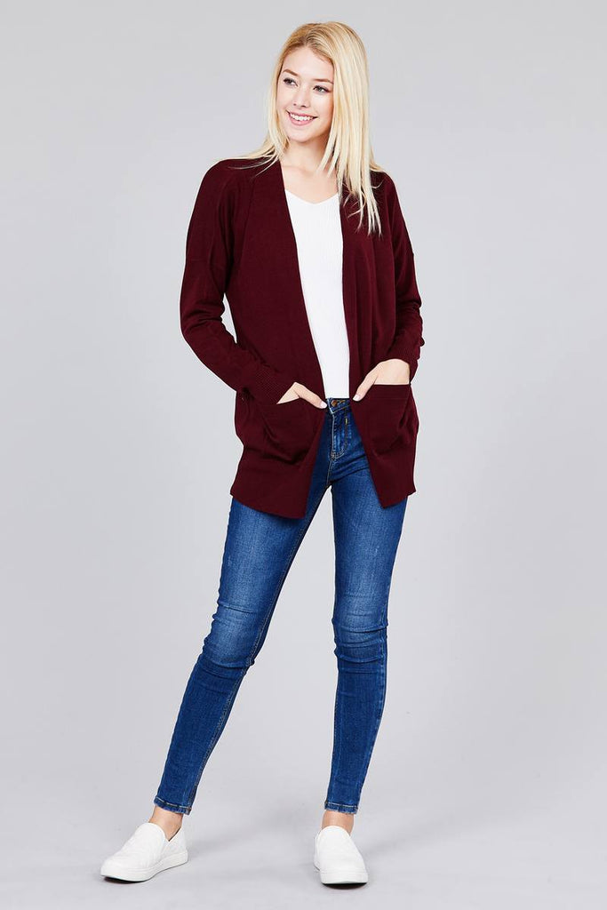 ASHLEY Long dolman sleeve open front w/pocket sweater cardigan