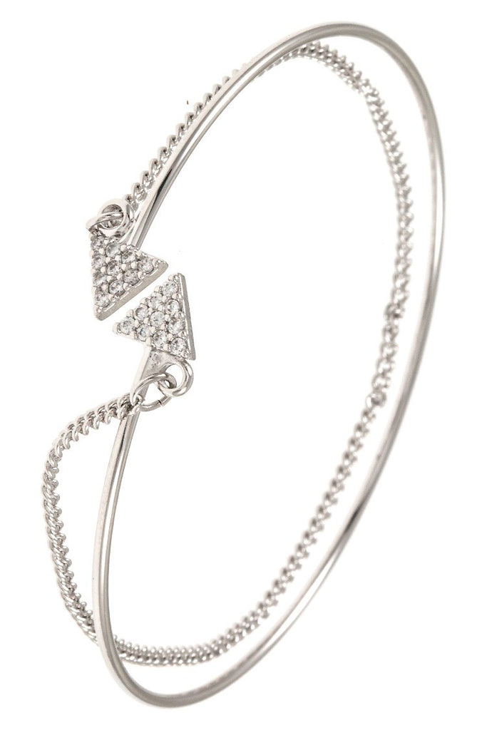 Cz stone triangle tip accent chain and bangle cuff bracelet