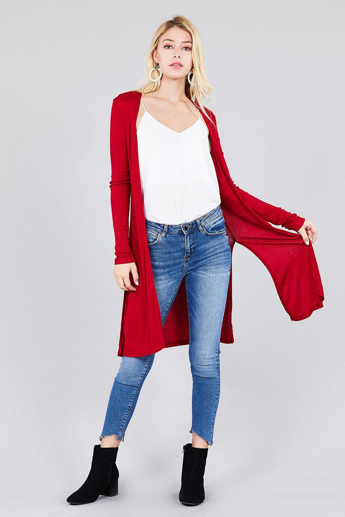 ELIZA Long sleeve open front side slit tunic cardigan