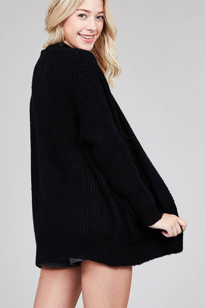 ALFY dolman sleeve open front surplice back construction sweater cardigan