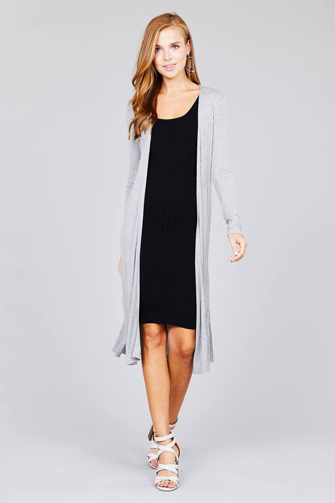 BELL long sleeve open front side slit long cardigan
