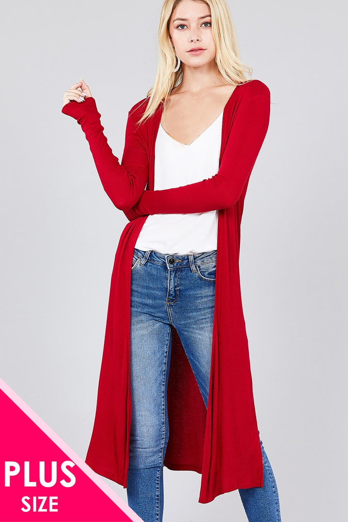 ANDY long sleeve open front side slit cardigan