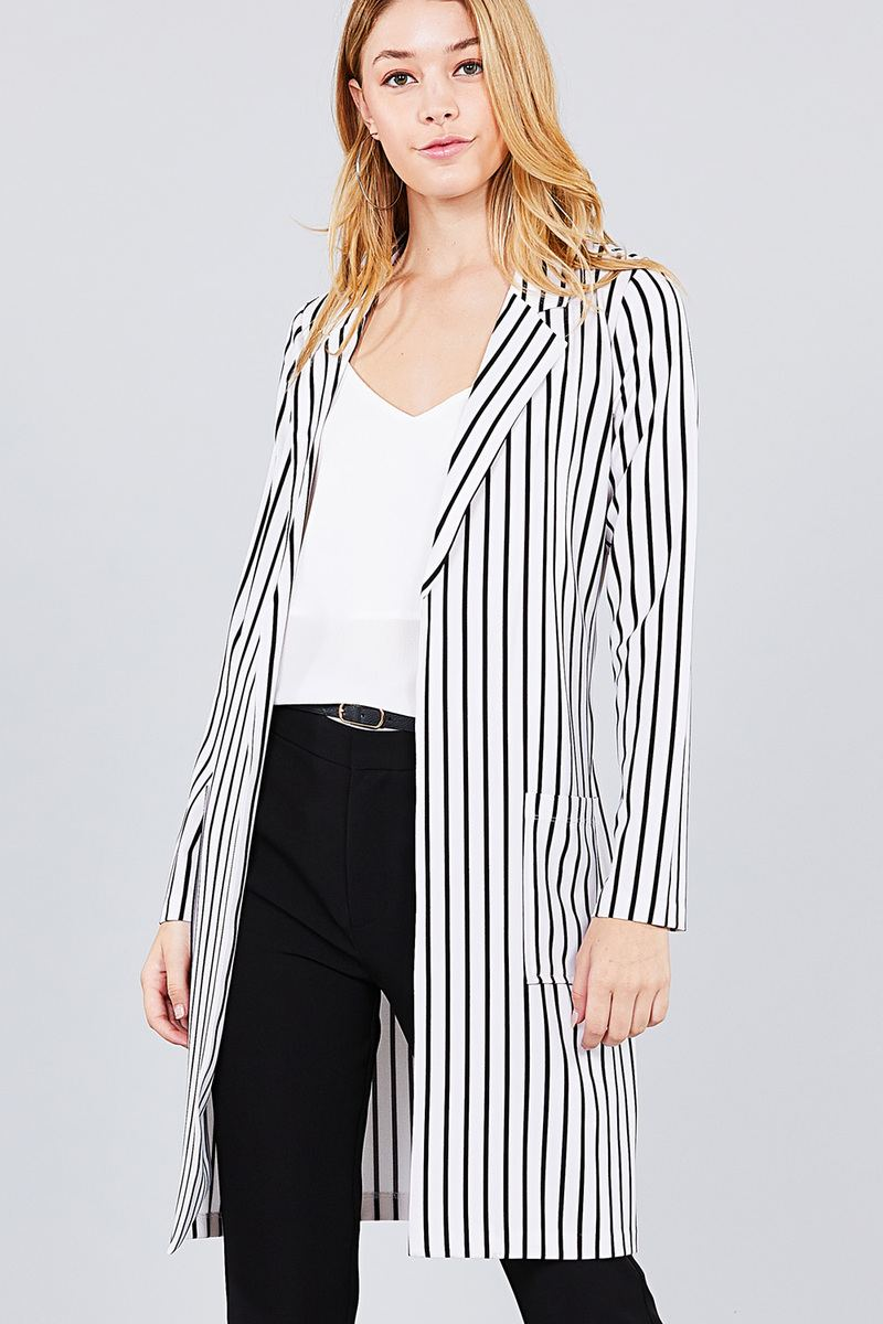 CLEO Long sleeve striped long jacket