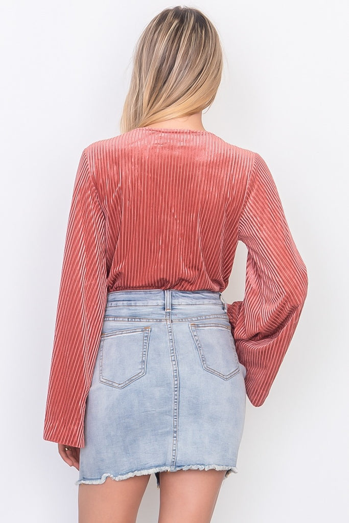 MABBIE Denim distressed mini skirt