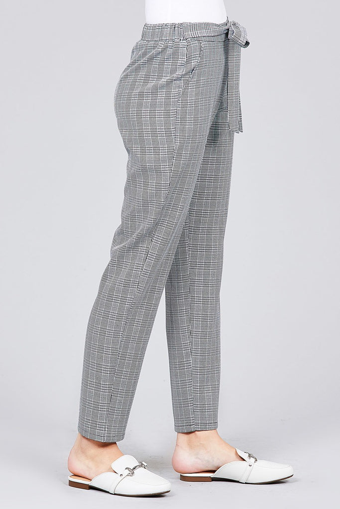 SUANNA Self ribbon detail ankle pants