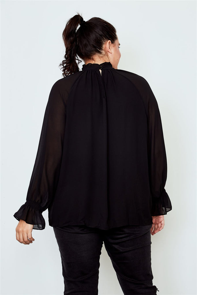 KLARA High neck ruffle long sleeve top