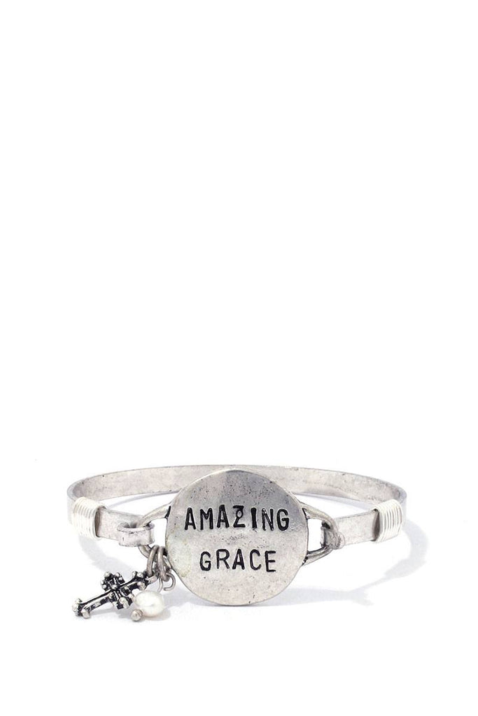 AMAZING GRACE Engraved Metal Bracelet