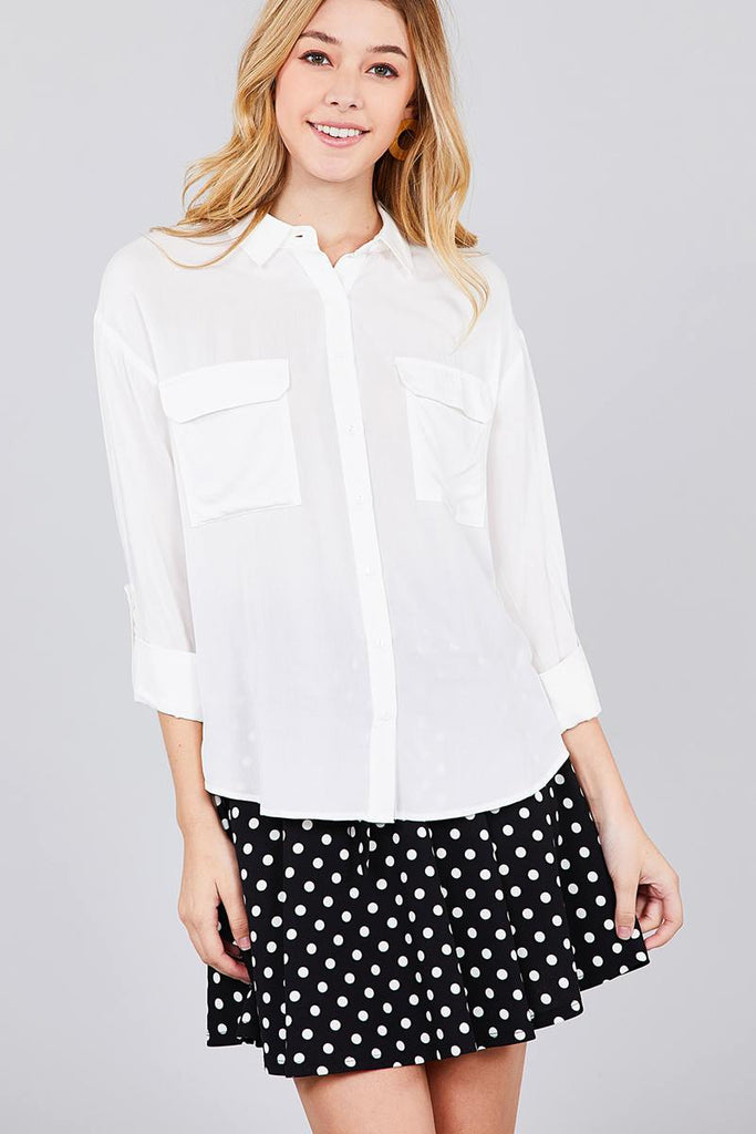 CHARLOTTE 3/4 Roll Up Sleeve Woven Shirts