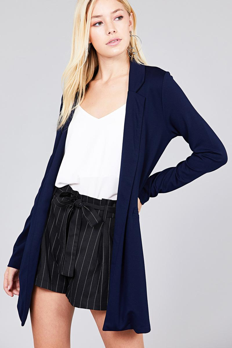 BRIANNA Long Sleeve Notched Collar W/pocket Tunic Jacket