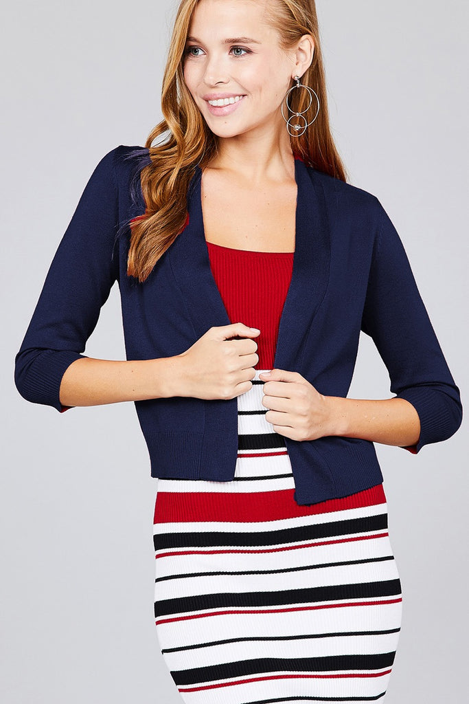 LAYLA 3/4 Sleeve Open Front Crop Cardigan