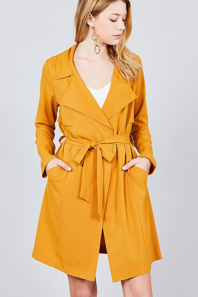 FRENCHY Long Sleeve Notched Collar Jacket
