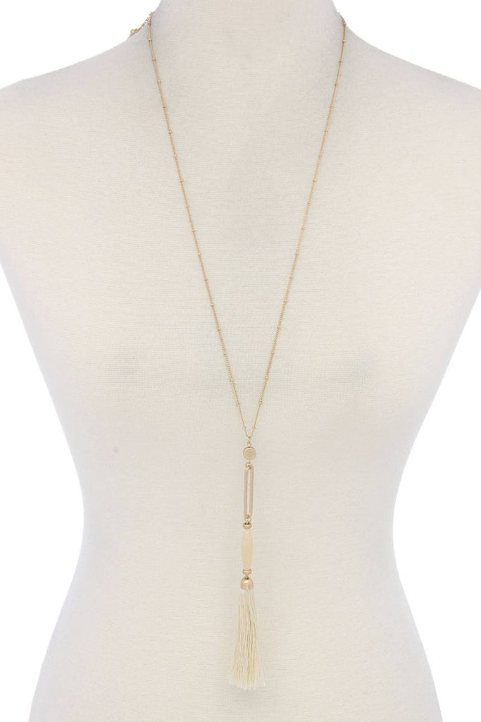Cut Out Long Oval Bead Tassel Pendant Necklace