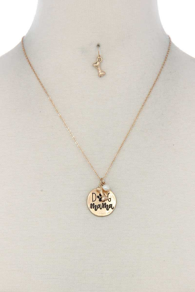 Dog Mom Circle Metal Necklace