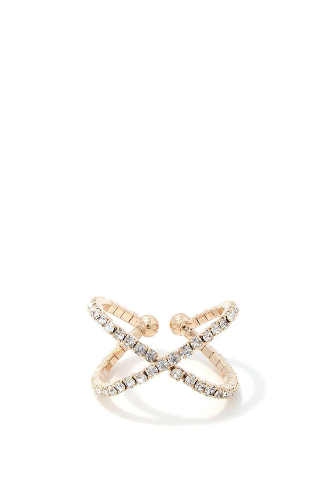 Criss Cross Rhinestone Ring