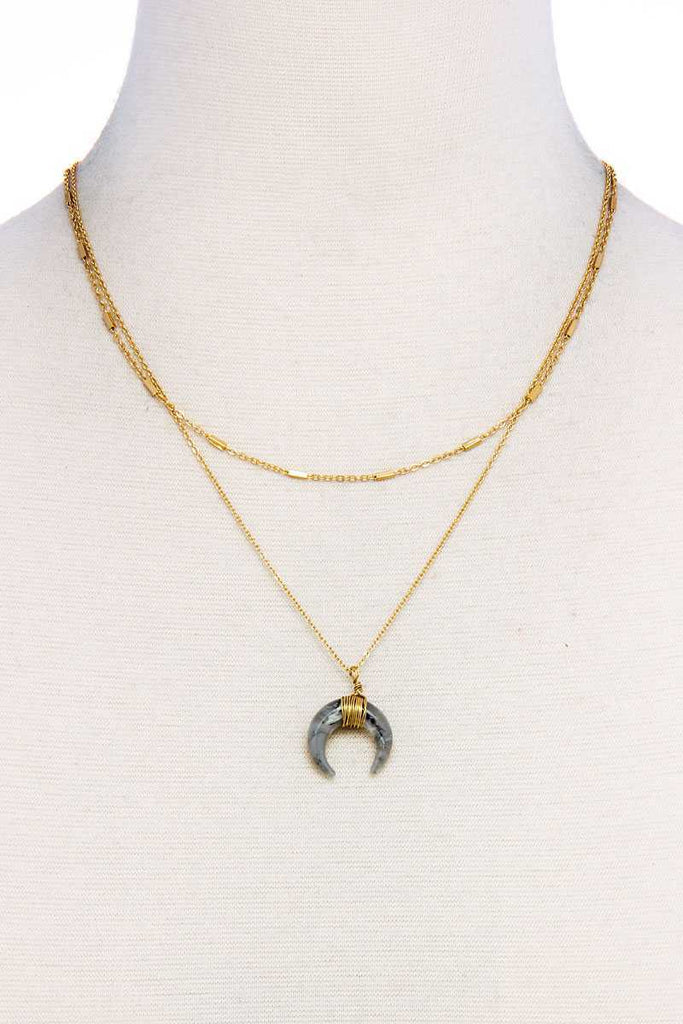 Chic Double Layer And Crescent Moon Necklace