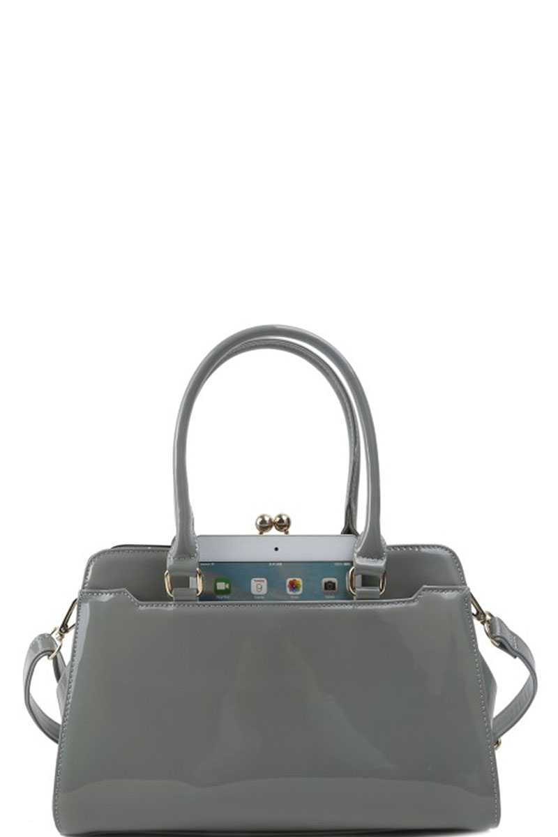 MARIELA Glossy Satchel With Long Strap