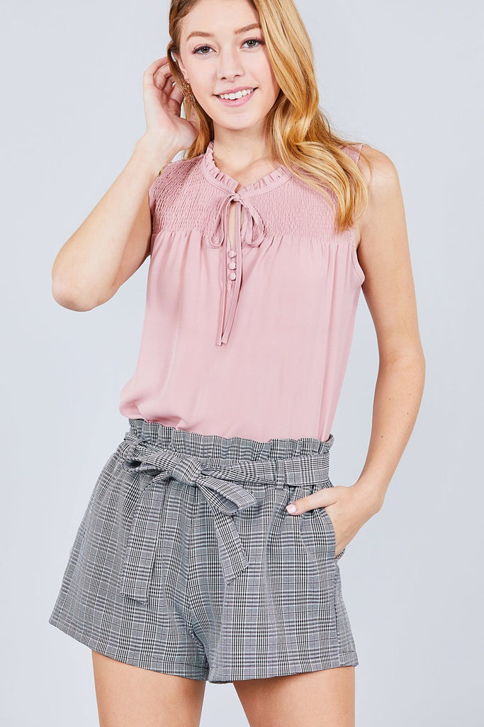 DELILAH Sleeveless Ruffle Neck W/self Tie Top